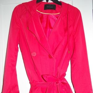 Tahari Red Lightweight Hooded Trench coat - Small